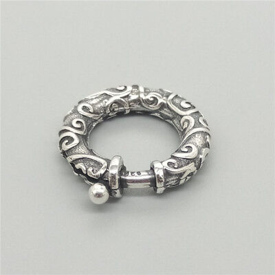 (925 Sterling Silver Swirl Spiral Round Spring Ring Clasp for Bracelet Necklace)