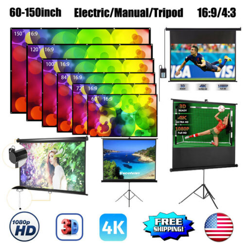 """16:9/ 4:3 Projection HD Home Theater 60-150"""" Electric/ Manua"""