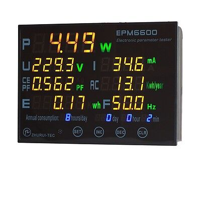 Epm6600 10a2000w Energy Consumption Meterwatt Meter Power Analyzer Monitor