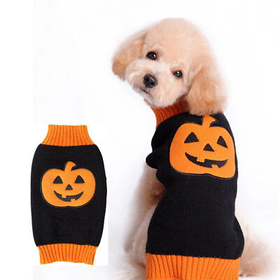 Funny Costumes For Cats (Small Dog Clothes Warm Pet Coat for Dogs Cats Halloween Pumpkin Costume)