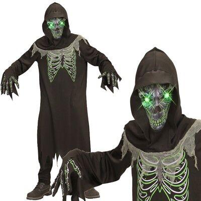 Sensenmann Dämon Tod mit leuchtenden Augen Gr. 128 Kinder Kostüm Halloween (Kind Sensenmann Kostüme)