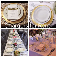 Real Belmont Clear Glass Chargers for Rent - GOLD/SILVER BEADED