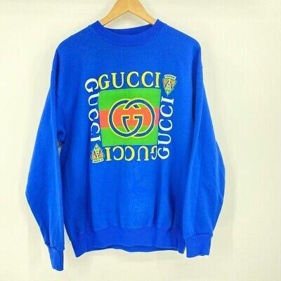 Vintage Bootleg Gucci Mens Crewneck Sweatshirt Blue Multicolor Pullover L New