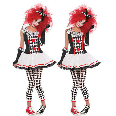 Ladies Harlequin Honey Costume Jester Clown Halloween Fancy Dress - Harley Quinn Outfit