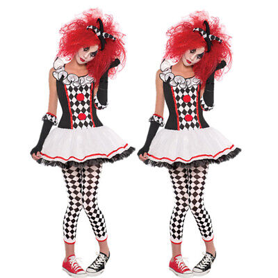 Ladies Harlequin Honey Costume Jester Clown Halloween Fancy Dress Outfit - Halloween Honey