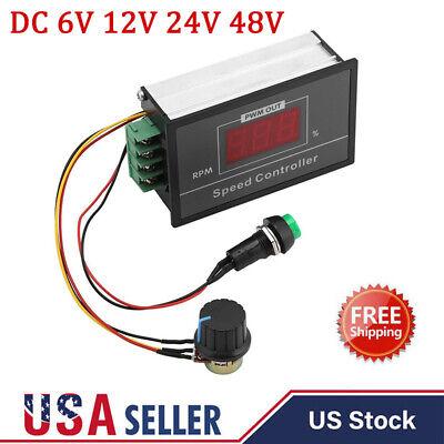 Digital Led Display Adjustable Dc 6v 12v 24v 48v Motor Speed Controller Pwm 30a
