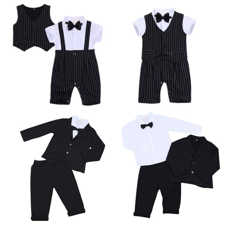 Kids Baby Boy Gentleman Bow Tie Shirt Tops Romper+Pants Party Formal Set Clothes