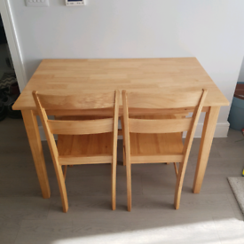 Solid wood dining table dining bench and 2 chairs (4 seater)