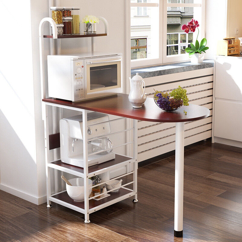 Kitchen Island Dining Cart Baker Cabinet Basket Storage Shel