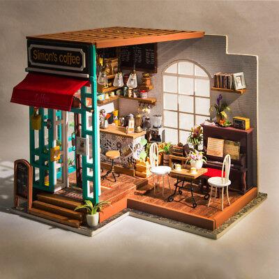 Robotime  DIY Dollhouse Kit Miniature Coffee House Kits with Furniture LED Light