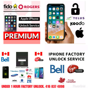 Iphone unlocking BELL ROGERS TELUS KOODO UNDER 1 HR ALL MODELS