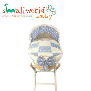 Personalised Blue Star Patchwork Moses Basket Cover Set