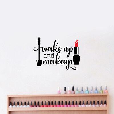 Wake Up And Makeup Lipstick Mascara Vinyl Wall Sticker Beauty Salon Decoration - Salon Decorations