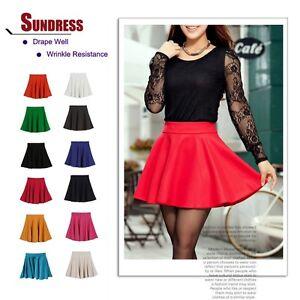 Skater-Stretch-Waist-Plain-Flippy-Flared-Pleated-Short-Skirt-Sun-dress-Sundress