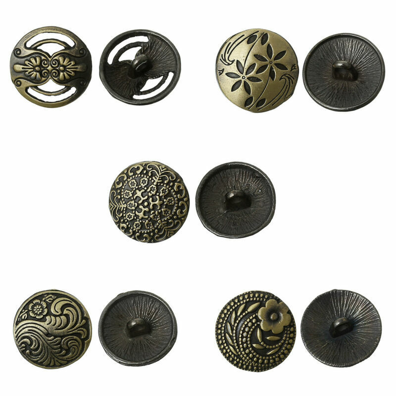 30Pcs Metal Round Flower Carving Shank Buttons Coat Sewing Craft DIY Supplies