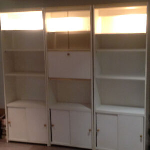 White 3pc. bookcase & storage units w/built-in lighting