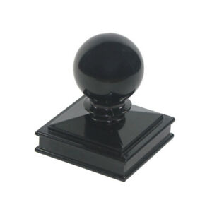 "Nuvo Iron 3"" x 3"" Ball Post Cap for Metal/Wood Posts - Black"