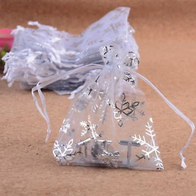 Snowflake Organza White Bags Christmas Gift Candy Wedding Favour Pouch7x9 - Snowflake Favors