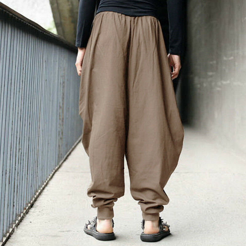 Herren Japanese Samurai Boho Casual Baggy Haremshose Hakama Leinen Lange Pants