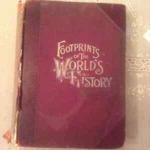 """ANTIQUE BOOK, """"FOOTPRINTS OF THE WORLDS HISTORY"""". 1890's"""