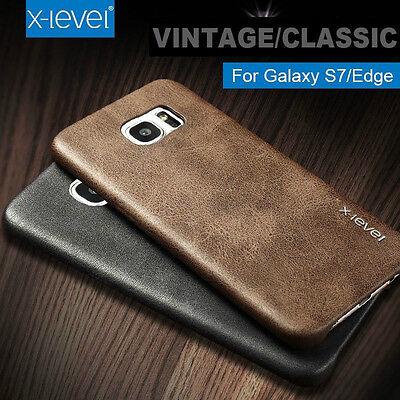 Luxury Retro Vintage Slim Genuine Soft PU Leather Back Case Cover For Samsung