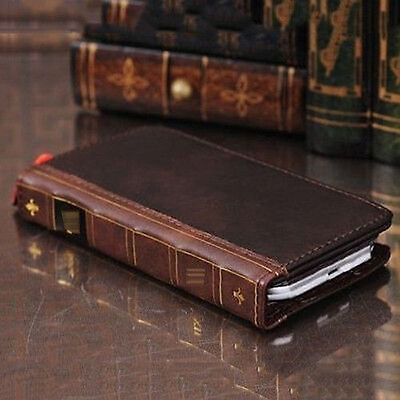 Retro Leather Vintage Book Flip Wallet Card Case Cover For Samsung Galaxy Phones