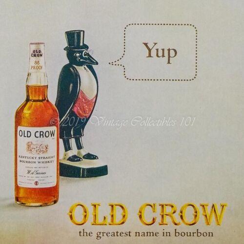 1964 Old Crow Bourbon whiskey bottle mascot photo art decor vintage print ad