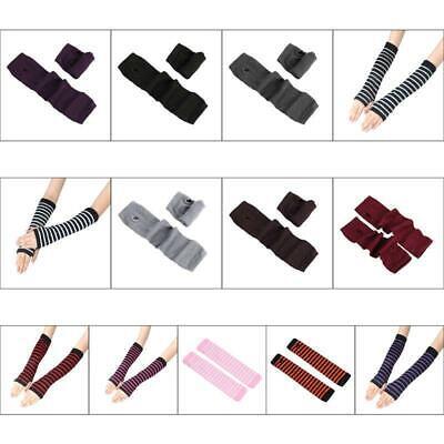 Girls Long Gloves (Women Girls Long Gloves Stripes Printed Over Elbow Length Arm Warmer)