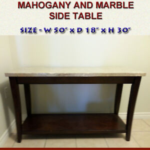 MAHOGANY AND MARBLE SIDE TABLE - PRISTINE CONDITION