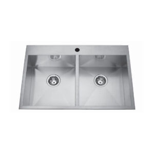 Kindred QDLF2233/8 33 x 22 Double Bowl Kitchen Sink 1 Hole