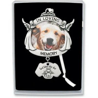 In Loving Memory DOG Photo Ornament Memorial Angels Christmas Pewter New Picture