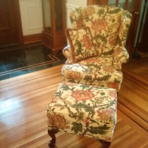 Victorian Chair and Ottoman - Barrymore Custom Made