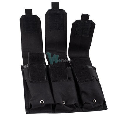 Pistol Mag Pouch Holds (Tactical MOLLE PALS Triple Mag Pistol Clip Pouch Holds Magazines Three Stack)