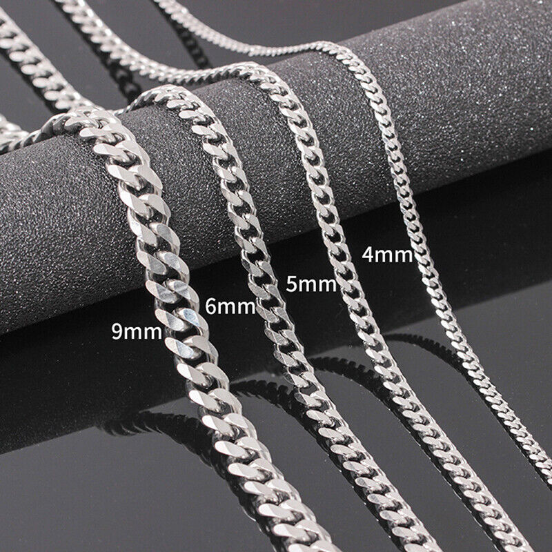 Size 4-6mm Men's Necklace Stainless Steel Cuban Link Chains