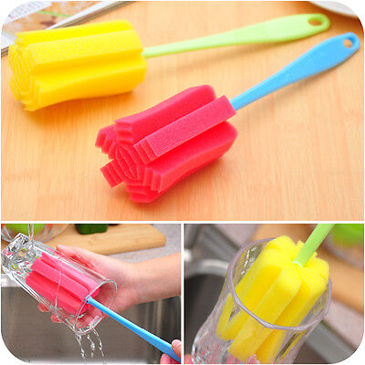 1PC Bottle Cup Glass Easy Wash Clean Long Sponge brush Kitchen Tool Handle brush