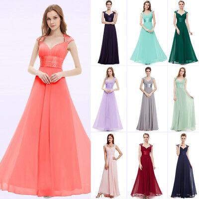 Ever-Pretty Cap Sleeve Bridesmaid Dresses Elegant Long V-neck Evening Gown 09672