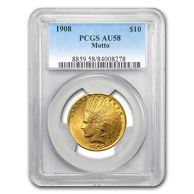 Click now to see the BUY IT NOW Price! 1908 $10 INDIAN GOLD EAGLE W/MOTTO AU 58 PCGS