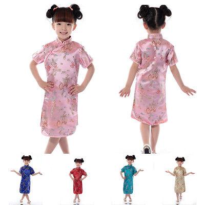 Chinesisch Kinder-Mädchen Kleid China Orientalische Qipao Cheongsam Kostüm Heiß ()