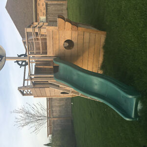 Large Pirate Ship outdoor play set. Yellow pine