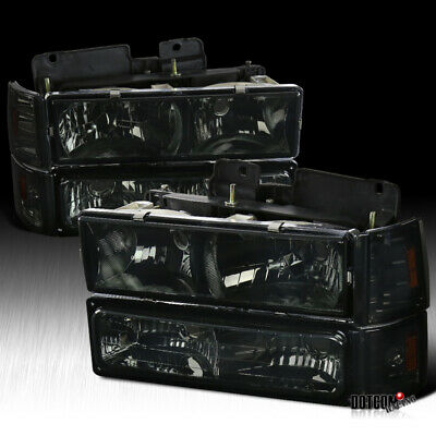 1994-1998 GMC C10 Sierra Suburban Smoke Headlights Bumper Corner Signal Lights ()