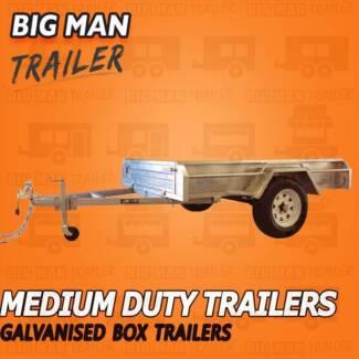 ■7x5 NO CAGE ✶Galvanised Box Trailer CHECKER PLATE Single Axle