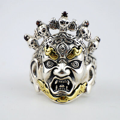 (925 Sterling Silver Biker Tibetan Buddhist Deities Palden Lhamo Men Ring A3550)