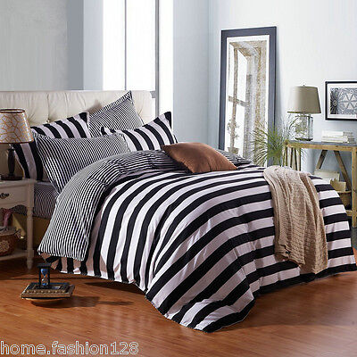 Black and White Striped Duvet Cover Sets King Queen Full 3Pcs Geometric Bedding ()