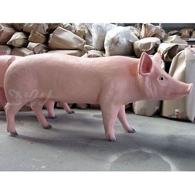 SCHWEIN lebensgroß 160 cm NATUR DEKO Garten Tier Figur BAUERNHOF GFK Dekoration