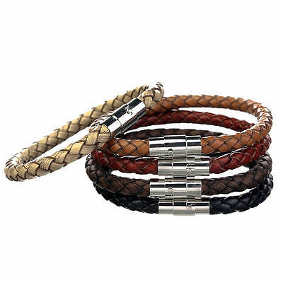 Mens Leather Bracelet Stainless Steel Magnetic Clasp  Valentines Day Gift Cs 1