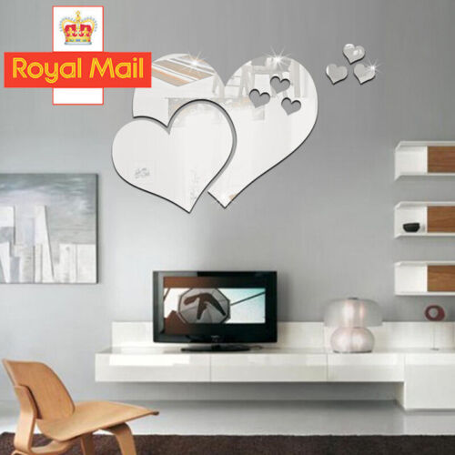 Home Decoration - 3D Removable Mirror Love Heart Wall Stickers Decal DIY Home Room Art Mural Decor