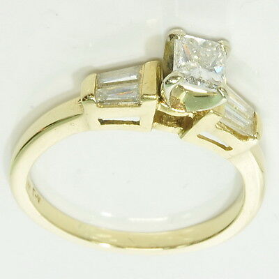 14k Yellow Gold 3/8 Ct Princess Cut 1/5 Ct Tapered Baguette Engagement Ring Princess Cut Tapered Baguettes
