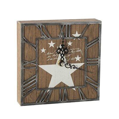 Dekorative Standuhr 16 cm Uhr Modern Stern Holz Metall Wohnzimmer TEXA02 Quadrat