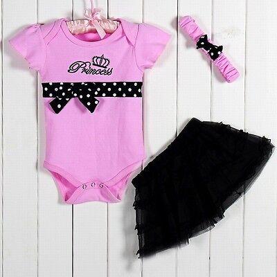 New Baby Girl Baby Girls Clothing Set 3PCS: headband+shirt+pant Princess Pink