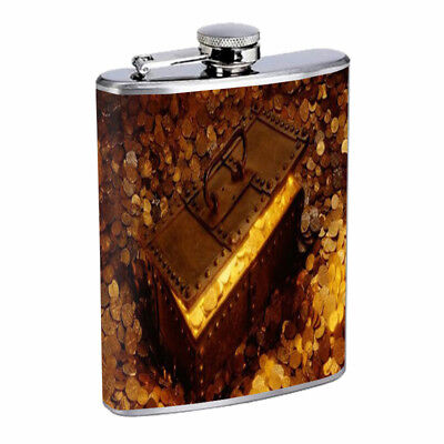 Pirate Treasure D1 Flask 8oz Stainless Steel Hip Drinking - Pirate Flask